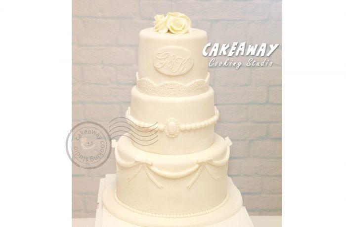 三層結婚蛋糕 (附人名牌)
