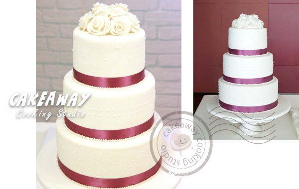 三層結婚蛋糕 (花球形)