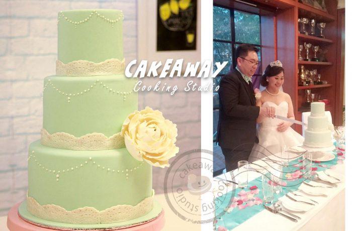 三層牡丹花結婚蛋糕 (Tiffany Blue)