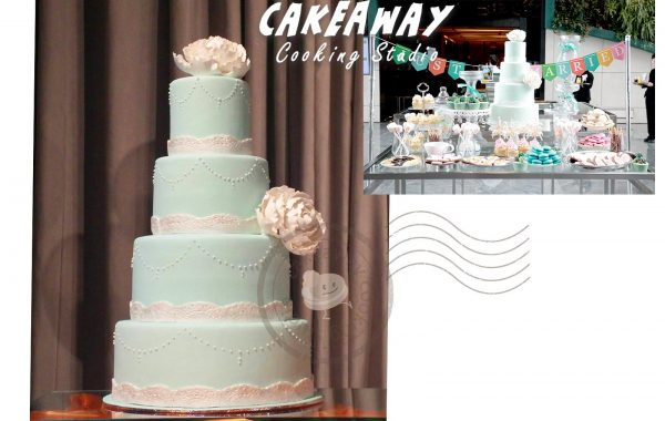 四層牡丹花結婚蛋糕 (Tiffany Blue)