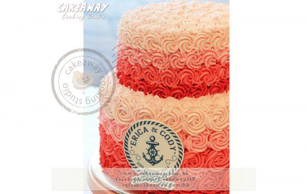 漸變色玫瑰結婚蛋糕 (可印LOGO)