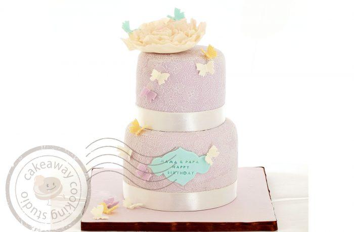 糖lace結婚蛋糕(配牡丹)