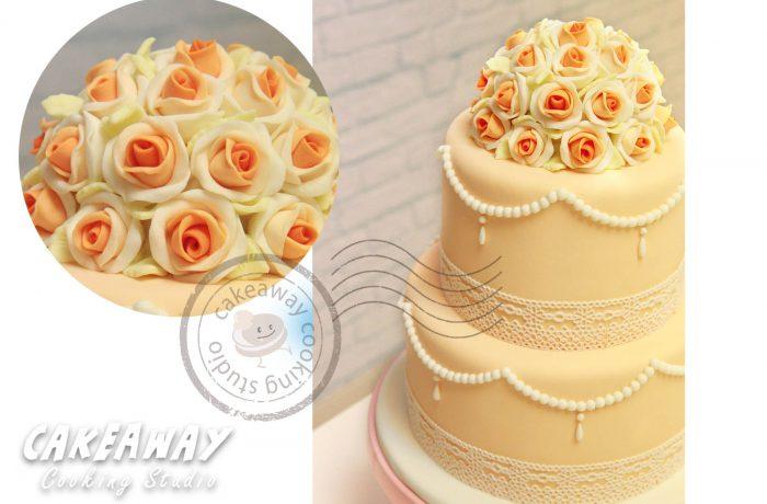 兩層結婚蛋糕 (花球形)