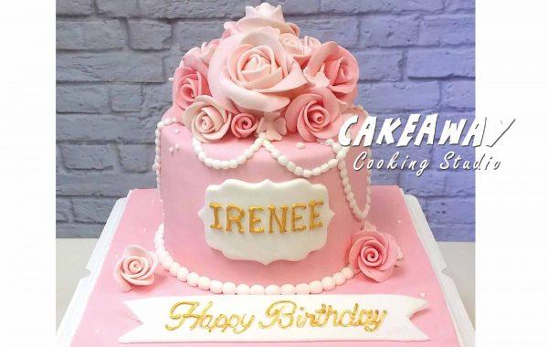 優雅玫瑰糖花蛋糕