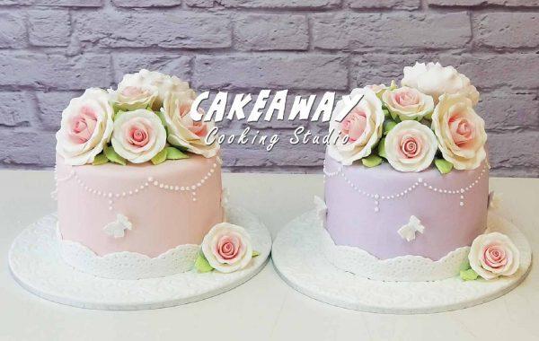 單層結婚蛋糕 (玫瑰及牡丹)