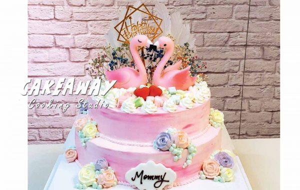 粉紅 Flamingo 連玫瑰花唧花(兩層)