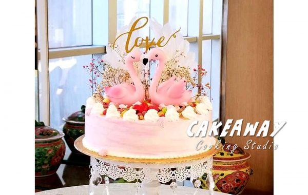 粉紅 Flamingo (雙鶴)結婚蛋糕