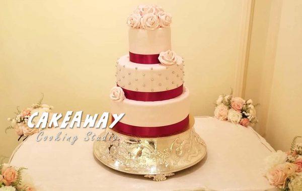 三層結婚蛋糕 (玫瑰花球形)
