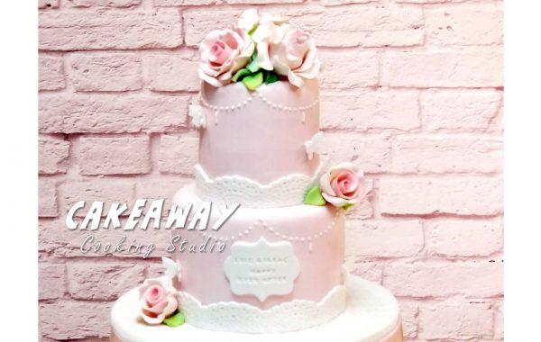 兩層結婚蛋糕 (玫瑰及牡丹)