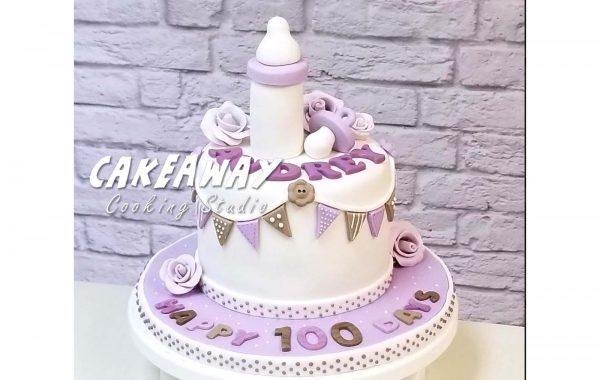 優雅小女孩百日宴蛋糕