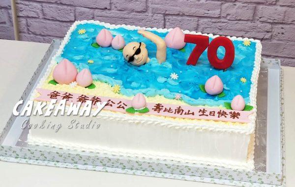 七十賀壽蛋糕(游泳主題)
