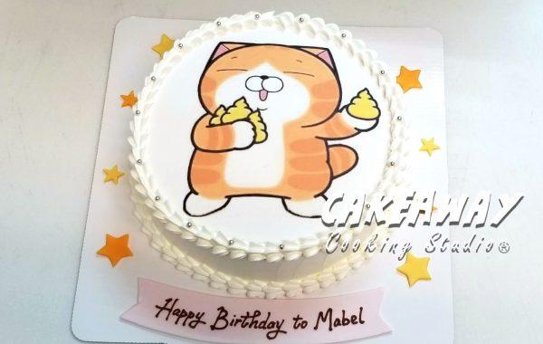 白懶貓蛋糕(食用打印)
